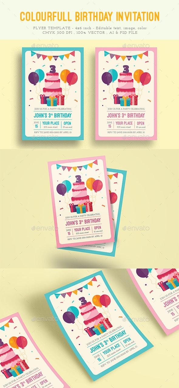 Colorful Birthday Invitation - Invitations Cards & Invites
