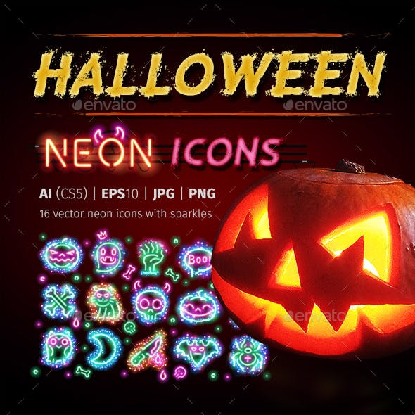 Halloween Icons with Sparkles