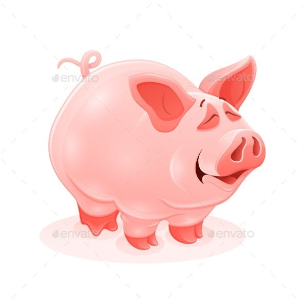 Pink Piggy Young Cartoon Animal Vector