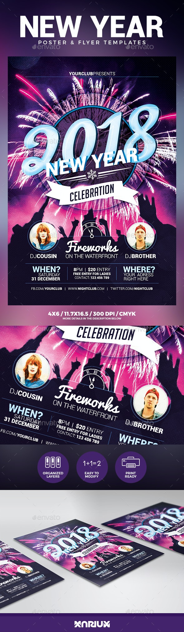 New Year Party Flyer & Poster - Clubs & Parties Events