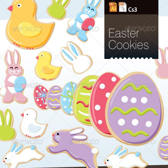 Easter Cookie Vector Objects
