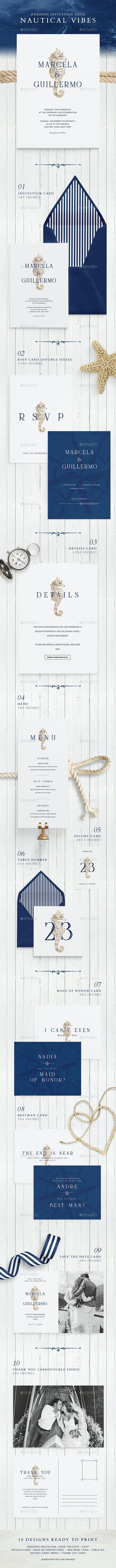 Wedding Invitation Suite - Nautical Vibes - Weddings Cards & Invites