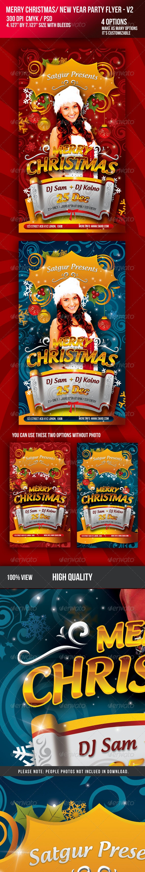 Christmas / New Year Music Dance Party Night Flyer - Clubs & Parties Events