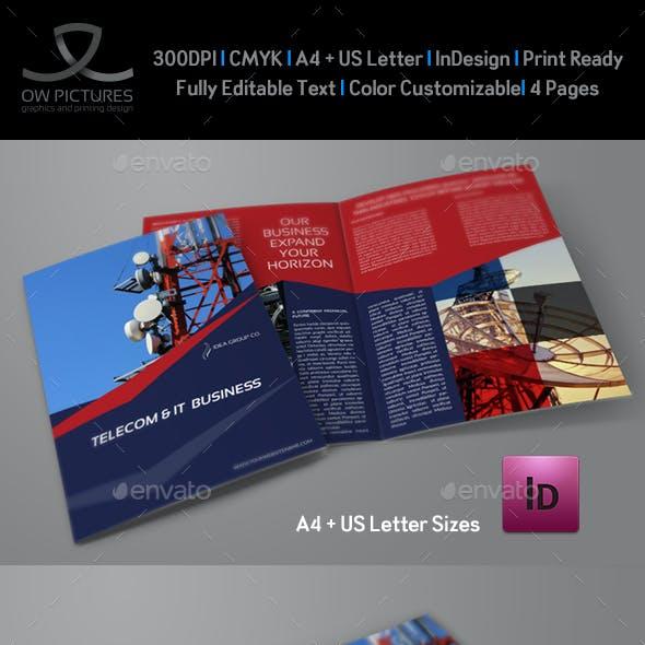 Telecom Services Bi Fold Brochure Template