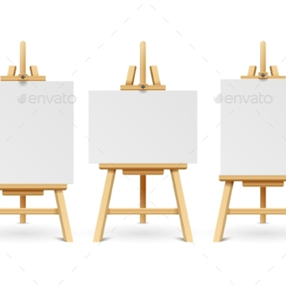 Wood Easels or Painting Art Boards with White