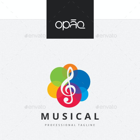 Colorful Musical Treble Clef Logo
