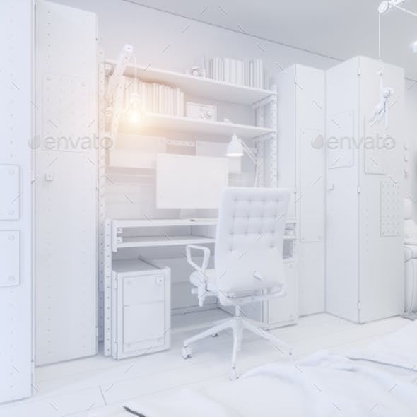 3d Illustration Childrens Room Interior Design