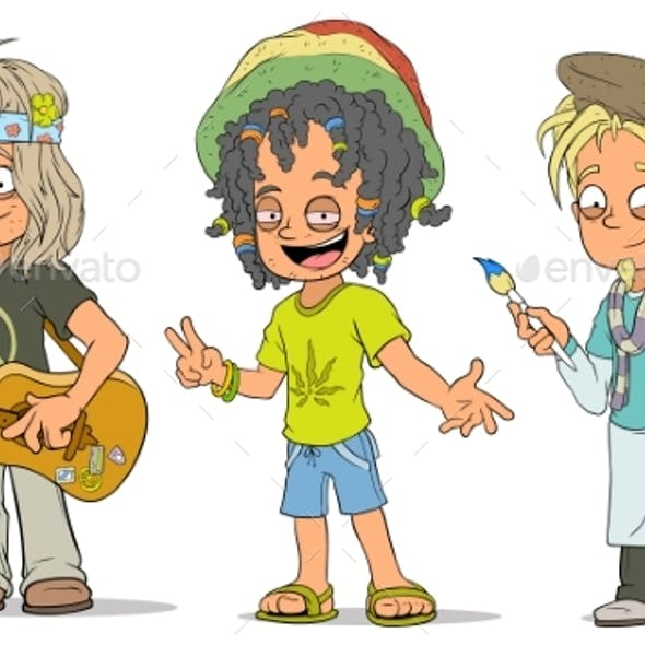 Cartoon Hippie Jamaican Artist Characters Set