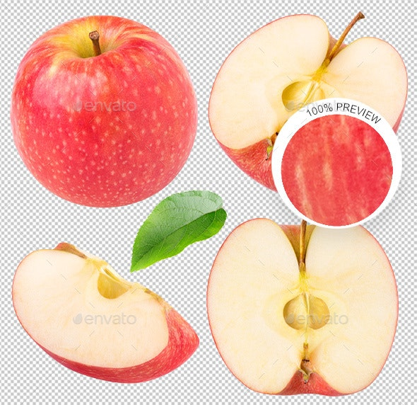 Collection of Isolated Apples