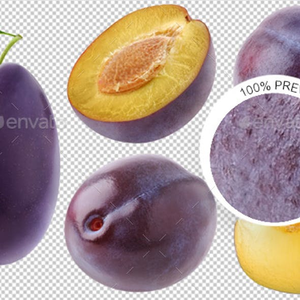 Collection of Isolated Plums
