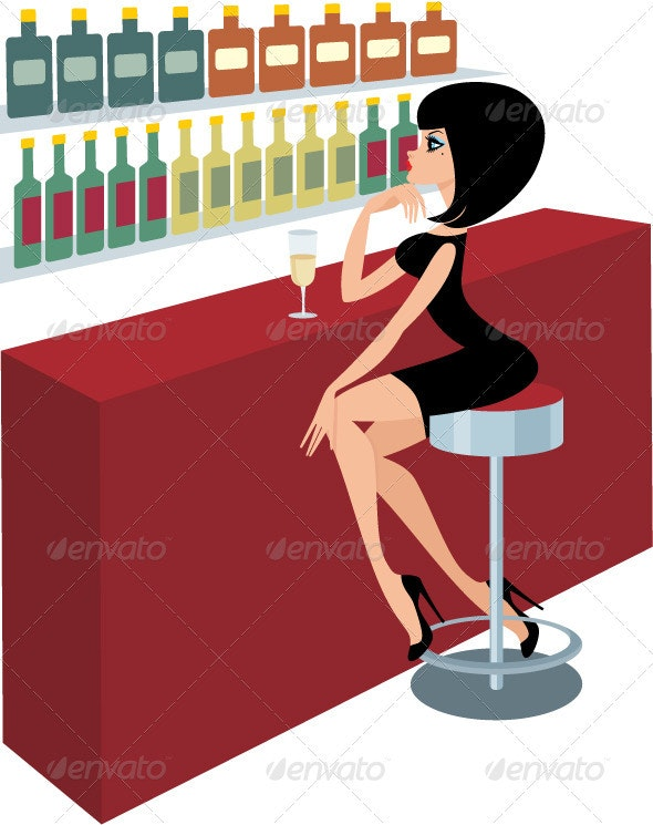 Young woman sits at a bar counter - People Characters