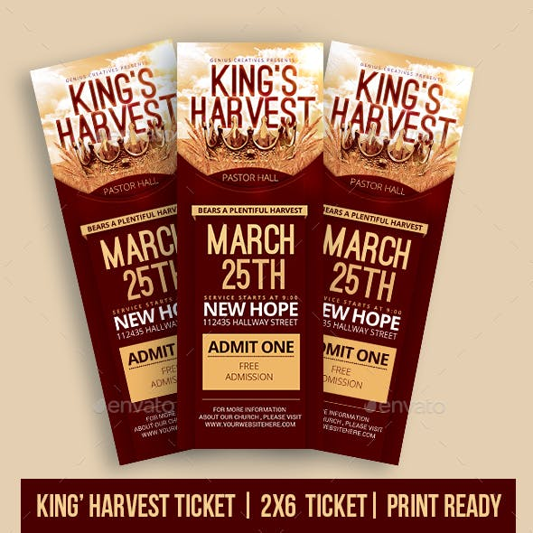 King's Harvest Church Ticket Template