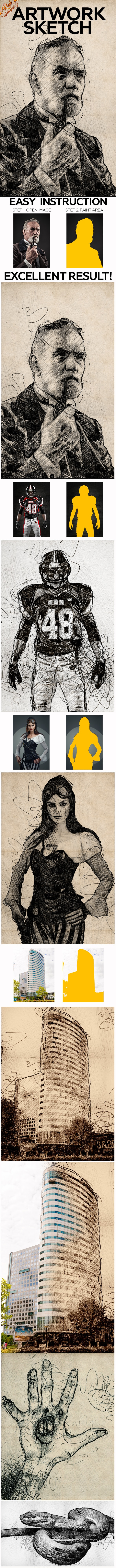 Artwork Sketch Photoshop Action - Photo Effects Actions