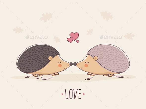 Hedgehogs in Love - Animals Characters