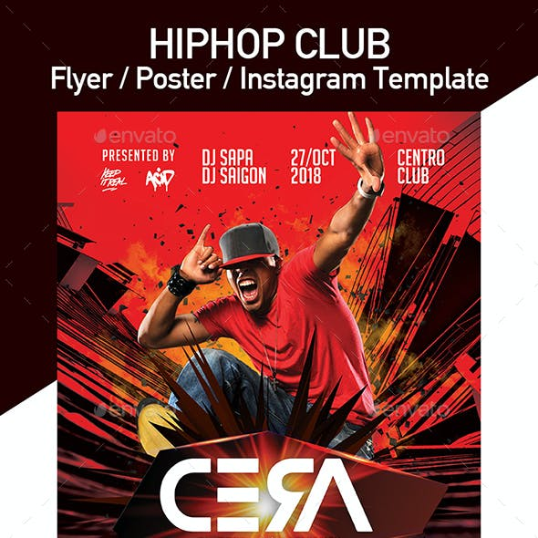 Hiphop Club Party Flyer - Set of 3 Templates