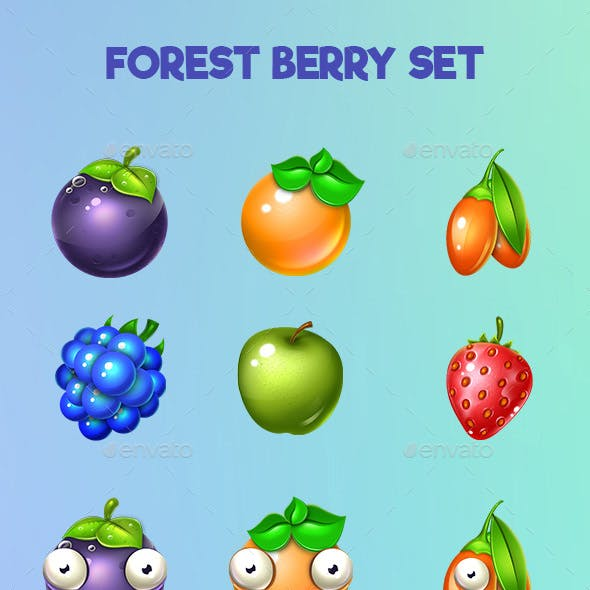 Set of Colorful  Fruits and Explode Animation