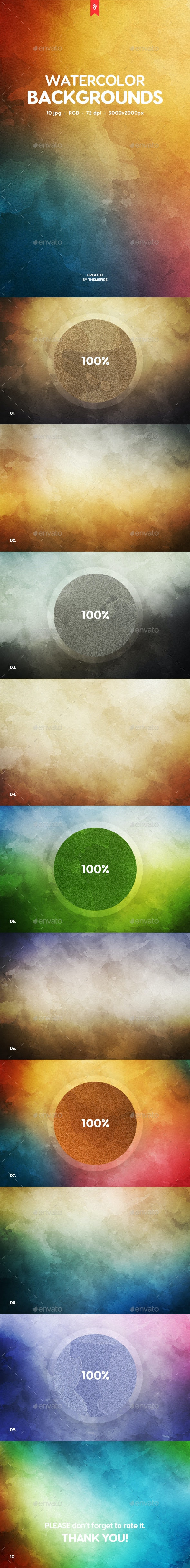 10 Watercolor Backgrounds - Abstract Backgrounds