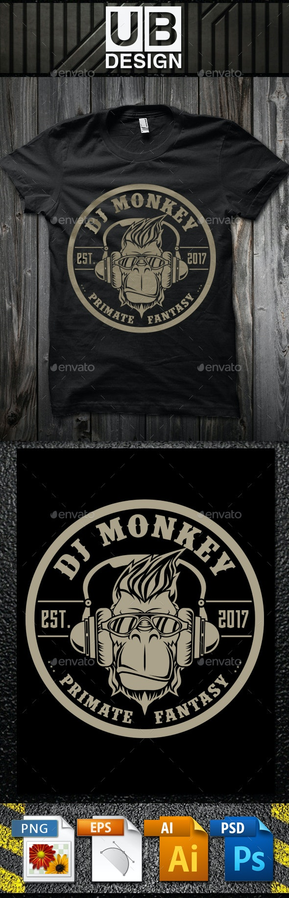 DJ Monkey T-Shirt Template - Funny Designs