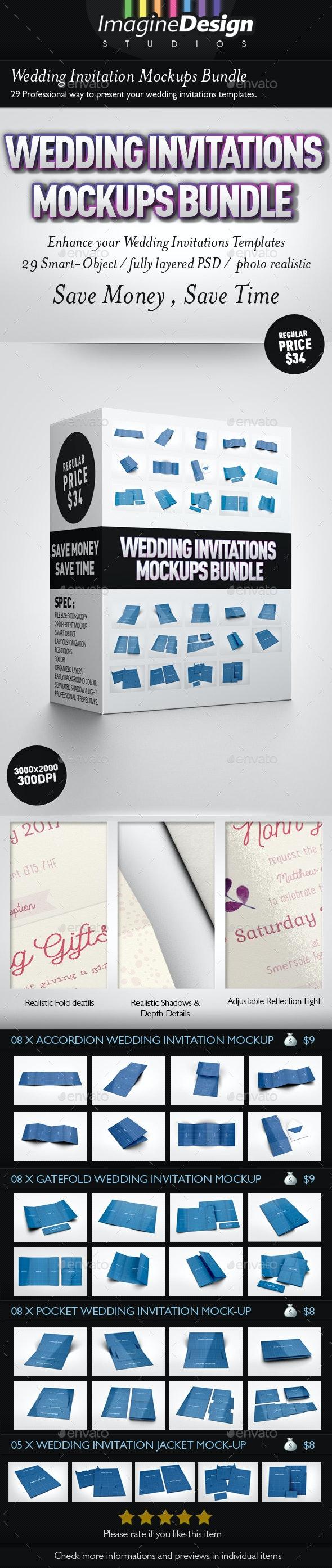 Wedding Invitations Mockups Bundle - Print Product Mock-Ups