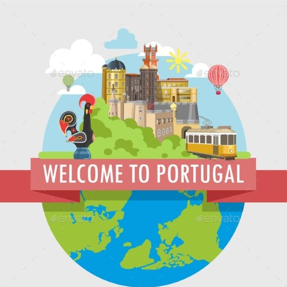 Welcome To Portugal Travel Poster of Vector