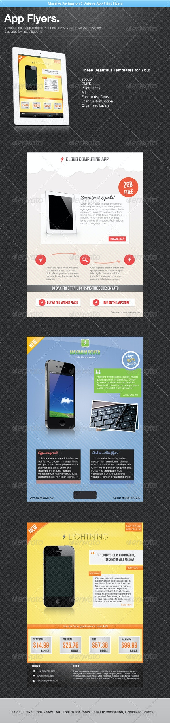 App Flyer Template Bundle x3 - Flyers Print Templates