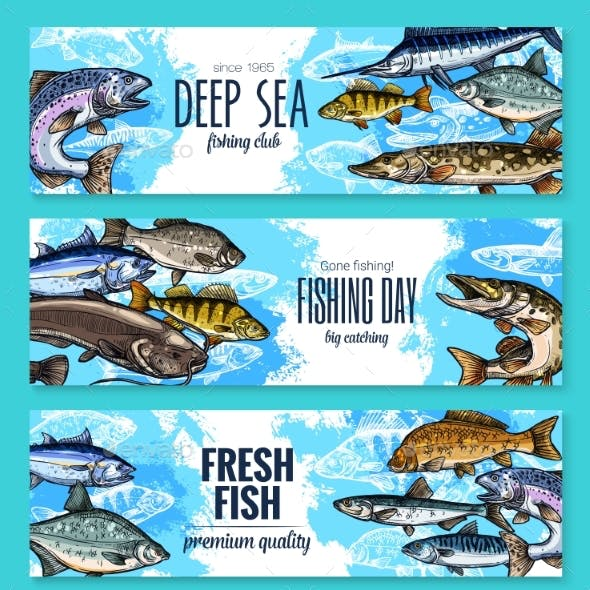 Vector Banners for Fishing or Fish Sea Life