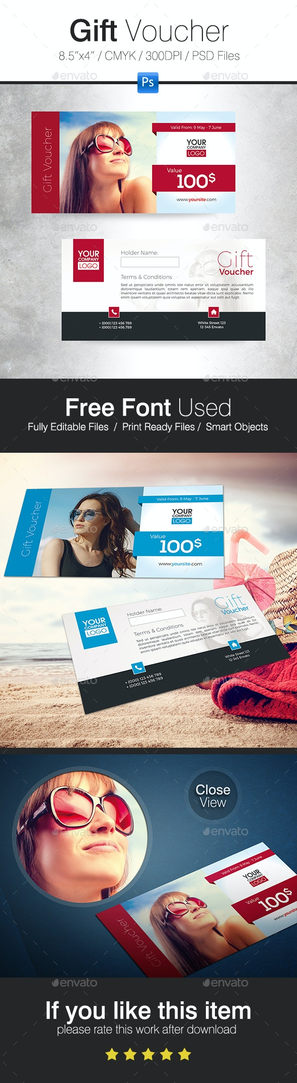 Summer holiday Gift Voucher - Cards & Invites Print Templates