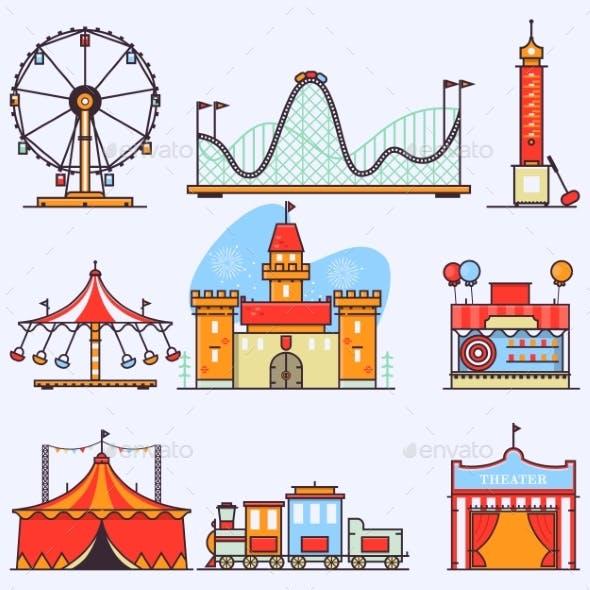 Amusement Park Vector Flat Elements Isolated