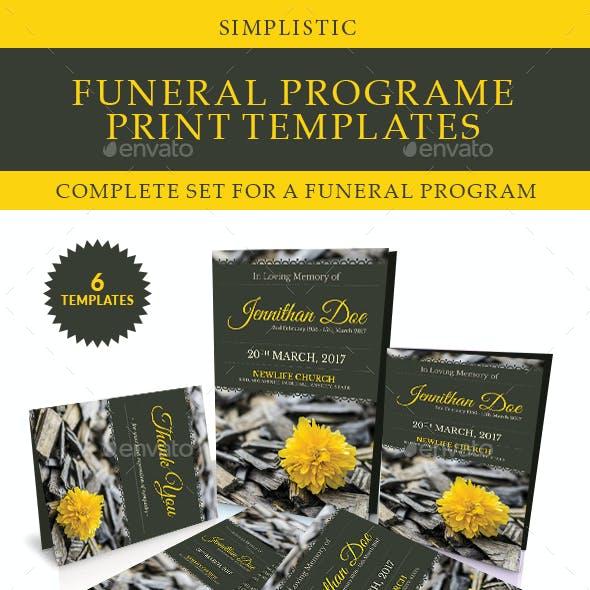 Simplistic Funeral Program Print Templates Combo Set