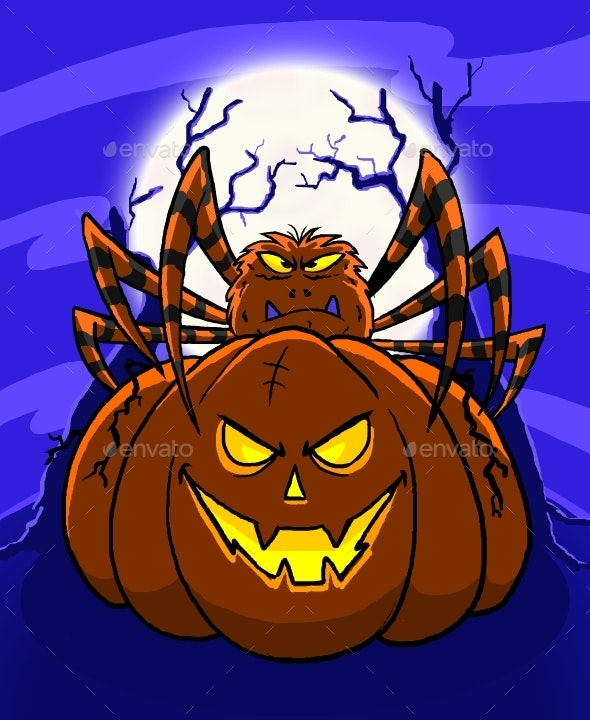 Pumpkin and Spider Cartoon - Halloween Seasons/Holidays