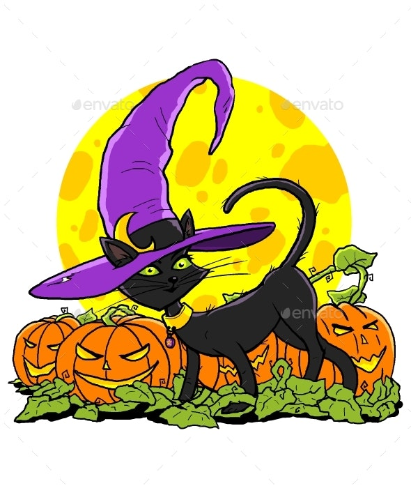 Black Cat with Witch Hat - Animals Characters