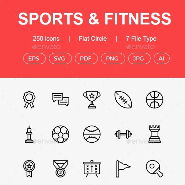 250 Sports and Fitness line icons