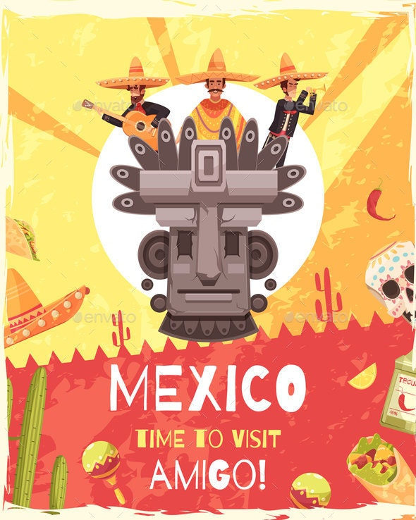 Mexico Travel Poster - Patterns Decorative