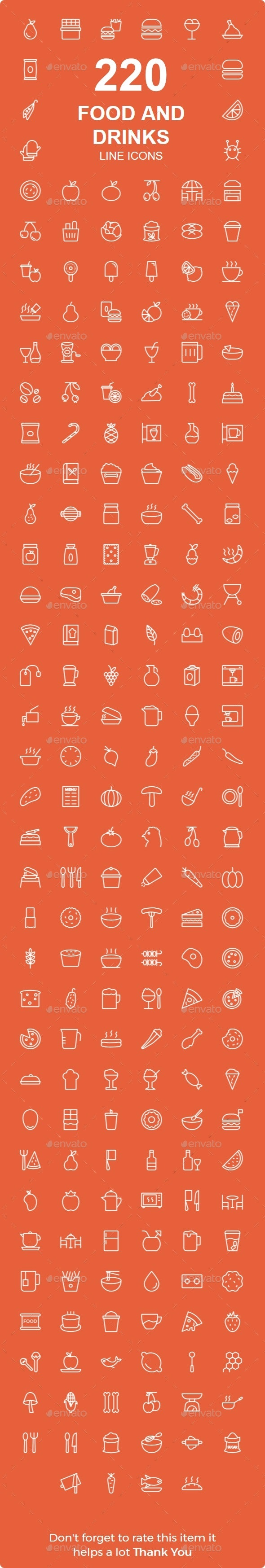 220 Food and Drinks line icons