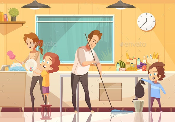 Kids Helping Cleaning Cartoon Poster - Miscellaneous Vectors