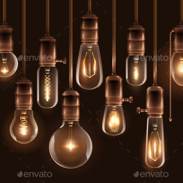 Vintage Glowing Light Bulbs Icon Set
