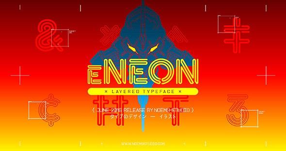 eNeon — Layered Typeface - Futuristic Decorative