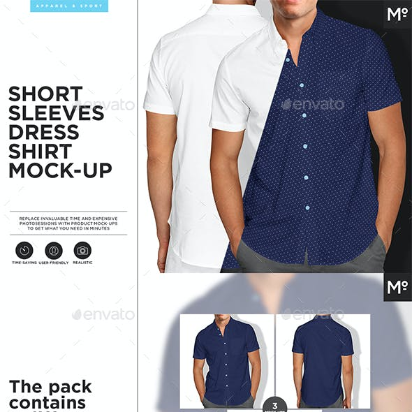 Short Sleeves Dress Shirt 3xMock-ups
