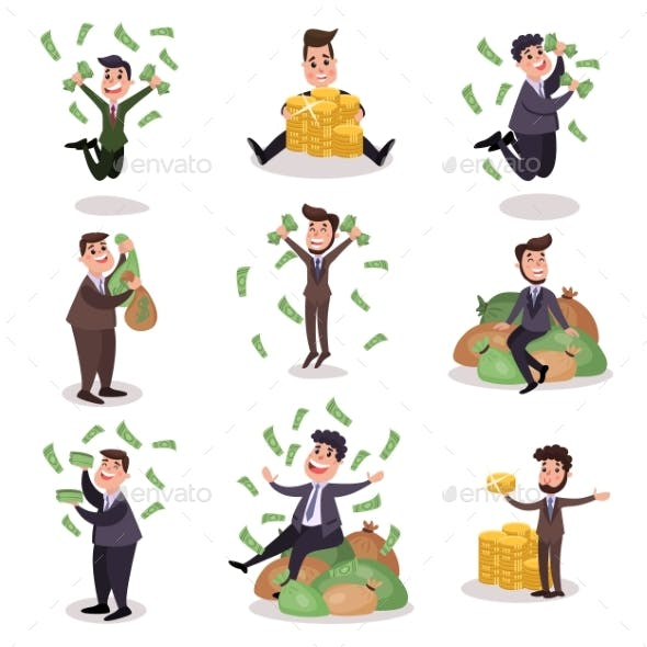 Rich Wealthy Happy Millionaire Characters Set