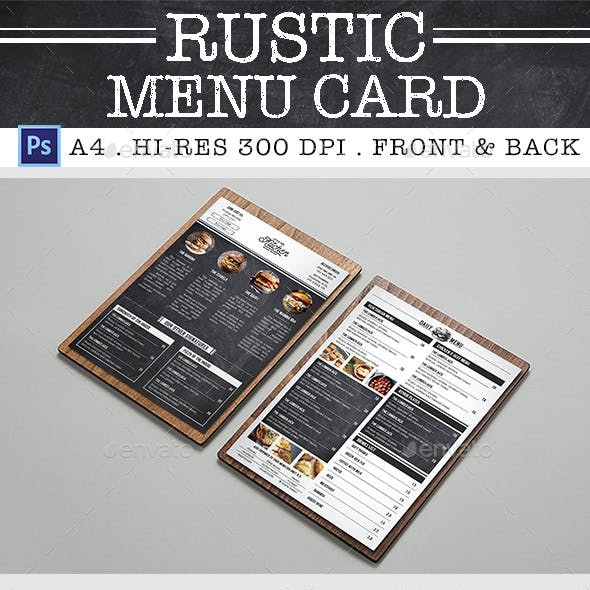 Rustic Burger Menu Card