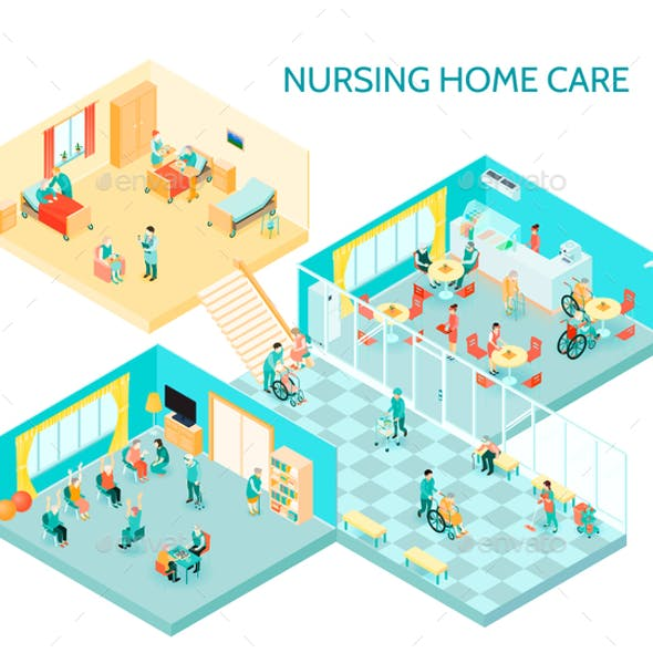 Nursing Home Care Isometric Composition