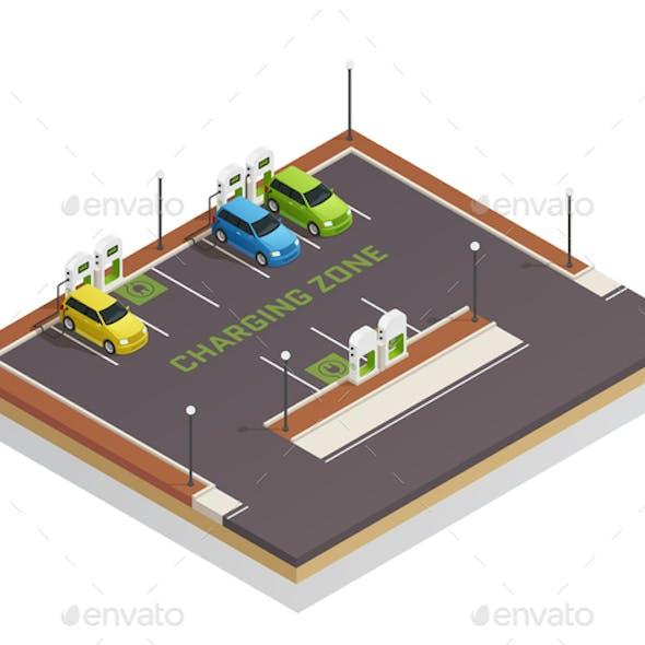Ecology Isometric Electric Vehicles Charging