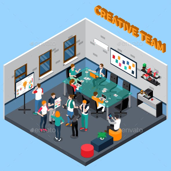 Creative Team Isometric Illustration