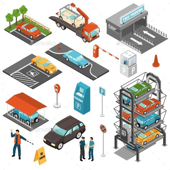 Isometric Car Parking Icon Set