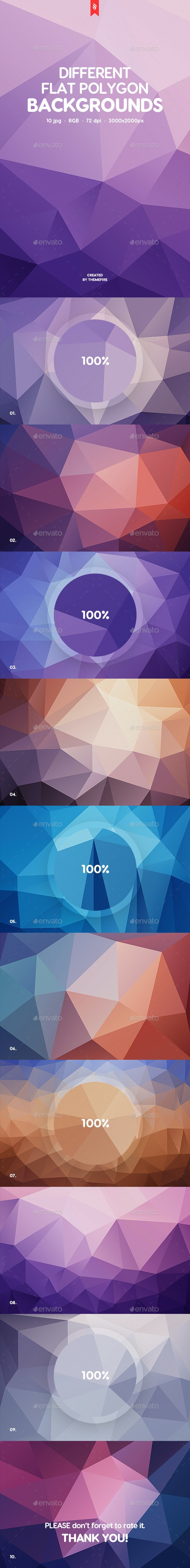 10 Different Flat Poly Backgrounds - Abstract Backgrounds
