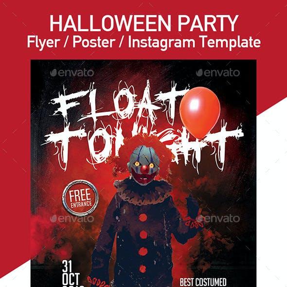 Creepy Clown Halloween Party Flyer - Set of 3 Templates
