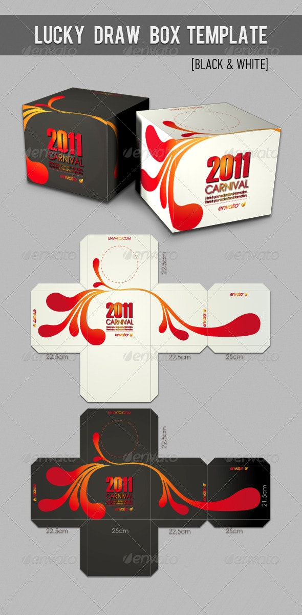 Lucky Draw Box Template - Packaging Print Templates