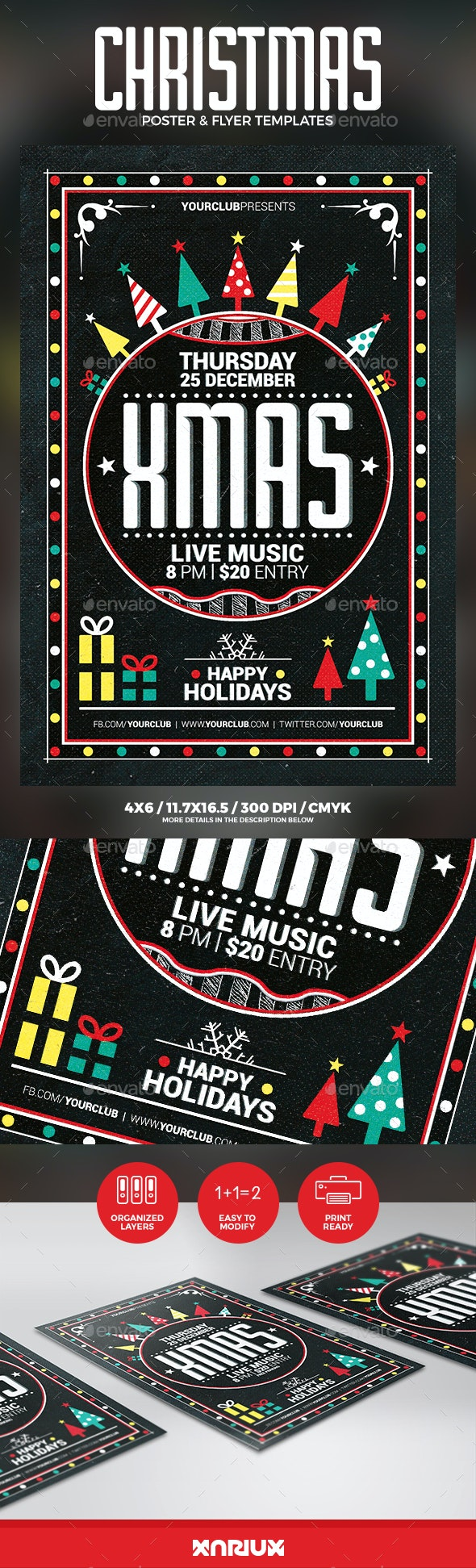 Christmas Party Flyer Poster - Clubs & Parties Events