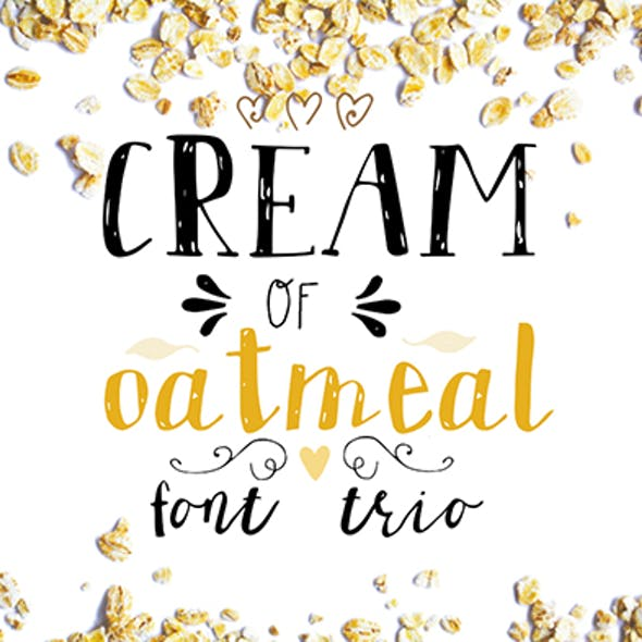 Cream of oatmeal font trio