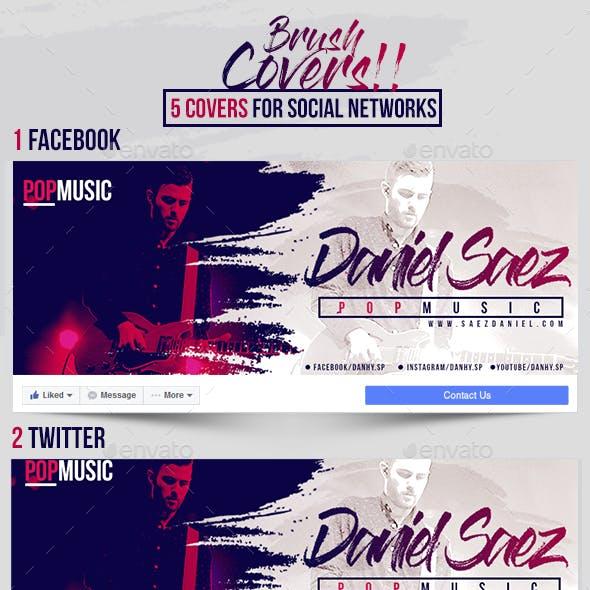 5 Social Media Covers - Brush Style
